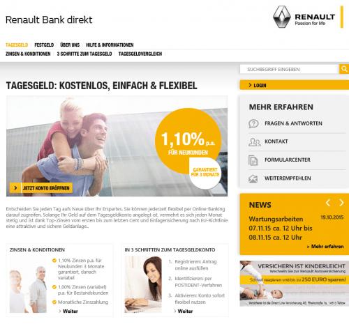 Tagesgeld bei der Renault Bank direkt